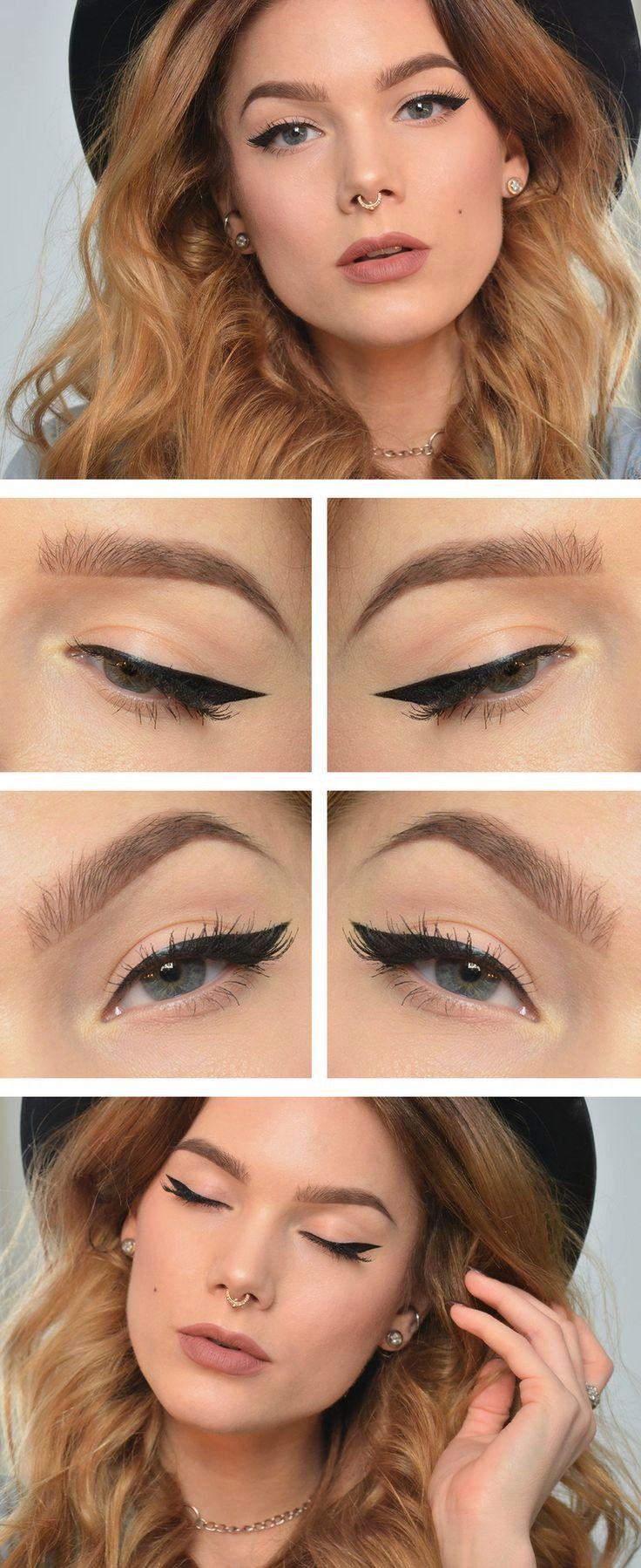 loose waves, cat eye, full light lips #makeup #eyeliner