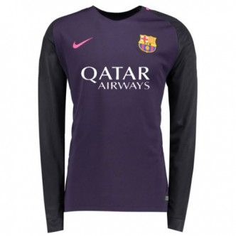 16-17 Barcelona Away Thailand Fans Long Sleeve Women's Soccer Jersey