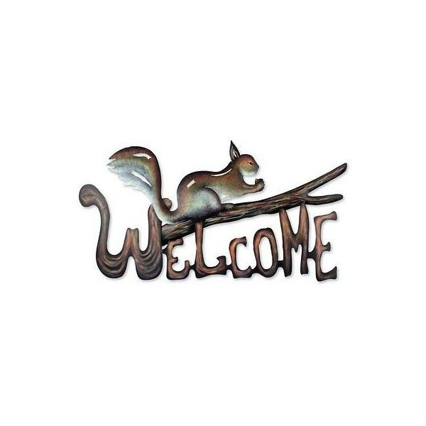 NOVICA Steel Welcome Sign Outdoor Living (425 NOK) ❤ liked on Polyvore featuring home, outdoors, outdoor decor, brown, homedecor, outdoor living, welcome signs, garden wall decor, welcome friends sign and outdoor patio wall decor