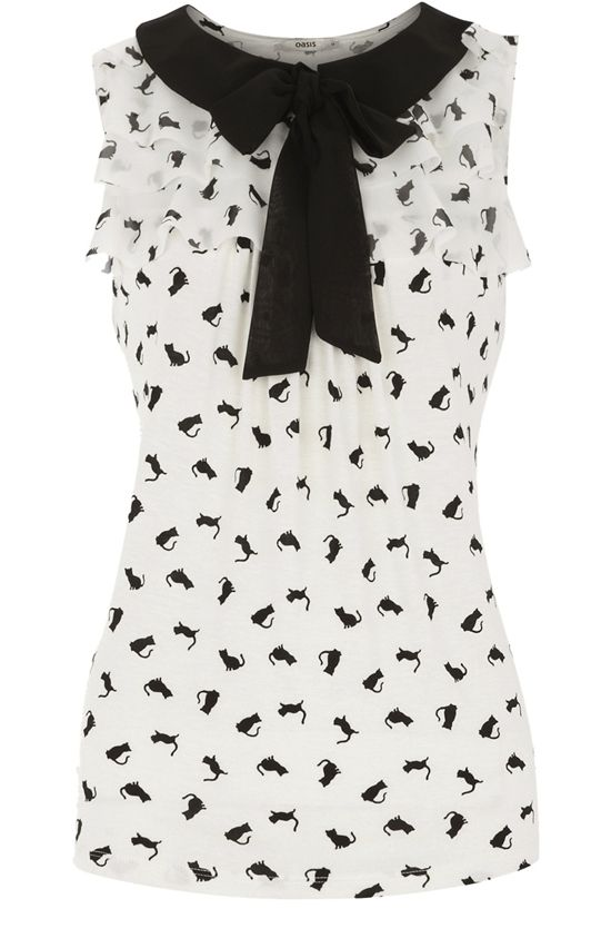 Cat Print Ruffle Neck Blouse. Cute! Maybe with a full black circle skirt.