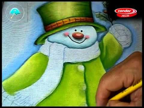 Pintando Boneco de Neve - Parte 2/2 - Final - Pintura em Tecido - YouTube