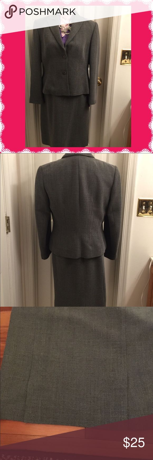 Laura Ashley Suit Very nice gray Laura Ashely suit. Skit and jacket.  Skirt is 28 inches in length ( measured from the bottom of the waistband) Jacket is 22 inches in length and 20 inches armpit to armpit. The skirt has a panel that creates a slit on each side in the back )see last two pictures) Zips on the side. A must have for the professional woman. 51% Rayon 41% Wool 2% Elastane. Both skirt and jacket are lined. Laura Ashley Skirts
