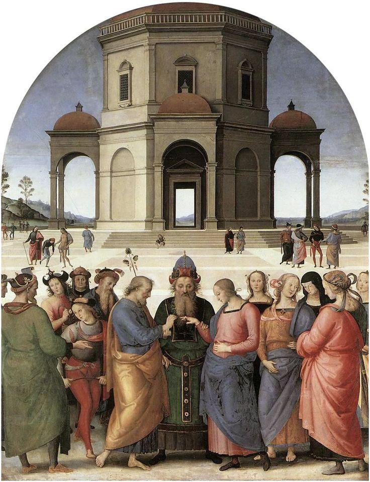 PERUGINO (1450-1523) Zaślubiny dziewicy, olej na desce, 1500-1504, Musée des Beaux-Arts de Caen
