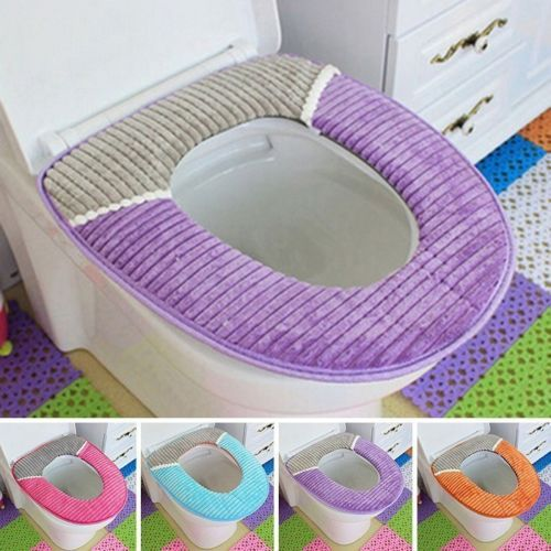New Bathroom Toilet Mat Thicken Soft Washable Stripe Closestool Lid Top  Cover
