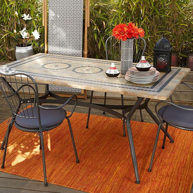 Table de jardin rectangulaire en mosaïque | Piscine et jardin ...