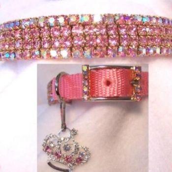 Pink Aurora Rhinestone Dog Collar