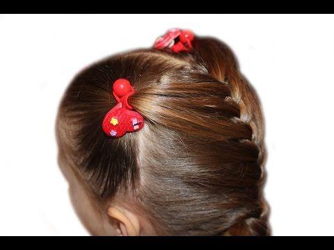 Детские прически с хвостиками и французской косой  ★ Прическа в садик (школу) за 3 минуты★прически - YouTube