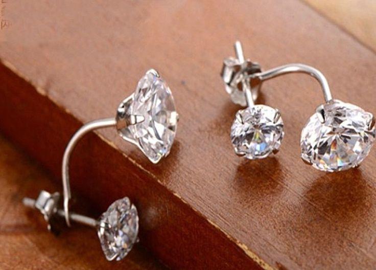 Doppel Ohrstecker Ohrringe Korea Style Zirkonia Silber plattiert | eBay