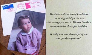 Kate Middleton and Prince Wiliam send thank you cards from Princess Charlotte | Daily Mail Online