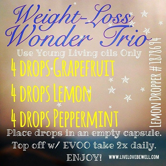 Weight loss with Young Living essential oils ...Lemon gently detoxes, Peppermint reduces appetite & Grapefruit increases metabolism… Perfection with oils :)