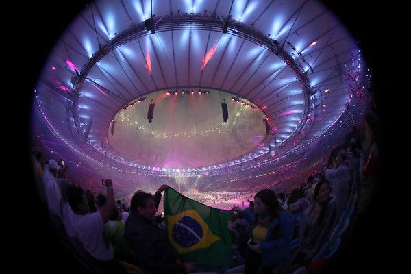 Fireworks explode during the Closing Ceremony on Day 16 of the Rio 2016 Olympic…