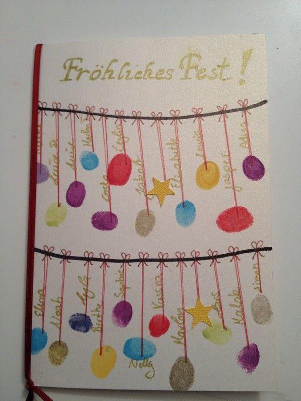 Weihnachtskarte mit Kinder basteln / Fingerabdruck,  #Basteln #Fingerabdruck #Kinder #mit #We…