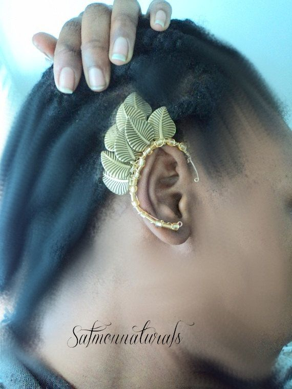 Elven etched Brass Leaf  Ear wrap pair -Nature fantasy-Ear Cuff Non pierced cartilage cuff cosplay