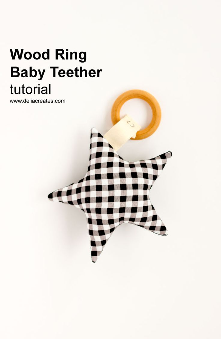 Wooden Ring Baby Teether Toy - free pattern + tutorial! // www.deliacreates.com
