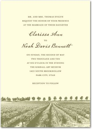 winery wedding  Signature Ecru Wedding Invitations Rustic Romance - Front : Bark