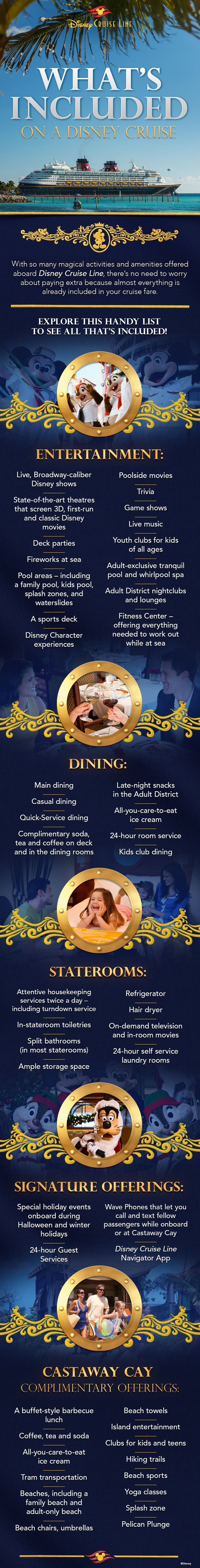 With so many magical activities and amenities offered aboard Disney Cruise Line, there's no need to worry about paying extra because almost everything is already included in your cruise fare.