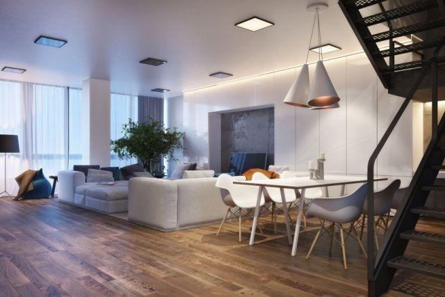 moderne einrichtung wohnbereich holz dielenboden essecke