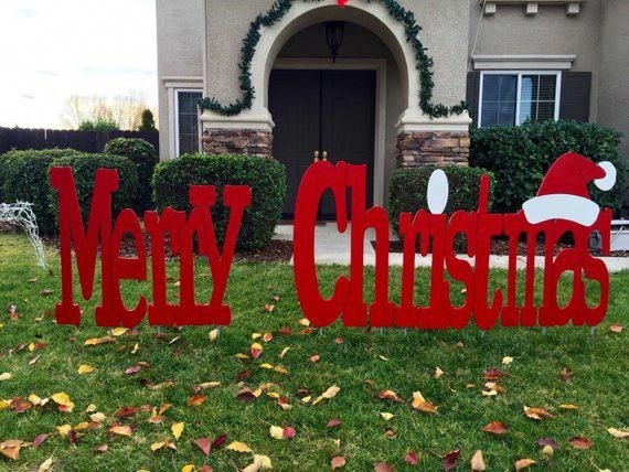 Merry Christmas Outdoor Holiday Yard Art Sign Large Christmaslightsyard Outdoor Christmas Outdoor Christmas Decorations Christmas Yard Decorations