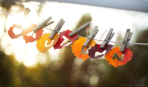 Autumn banner...cut out images for bride and groom names. Love it.