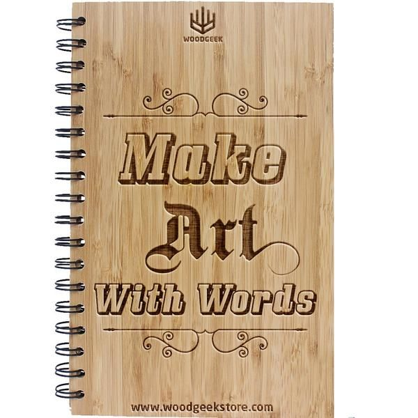 Make art with words. It goes above and beyond paintings and sketches. This wooden notebook is perfect for writers and poets who are creating art with their words. #personalizednotebook #writersjournal #poetryjournal
