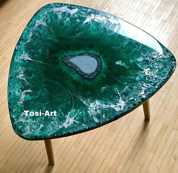 Nouveau Serie Crystal Table Basse En Resine Moulage Cristaux