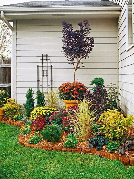 Backyard landscaping ideas. BEFORE, Unkempt Corner AFTER, Beautiful Backdrop Flower Beds