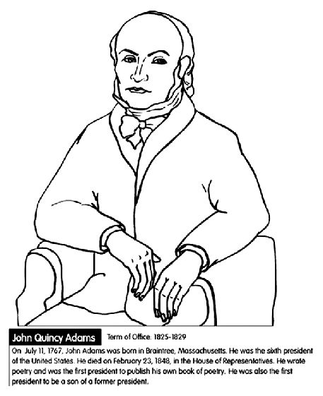 us president john quincy adams coloring page