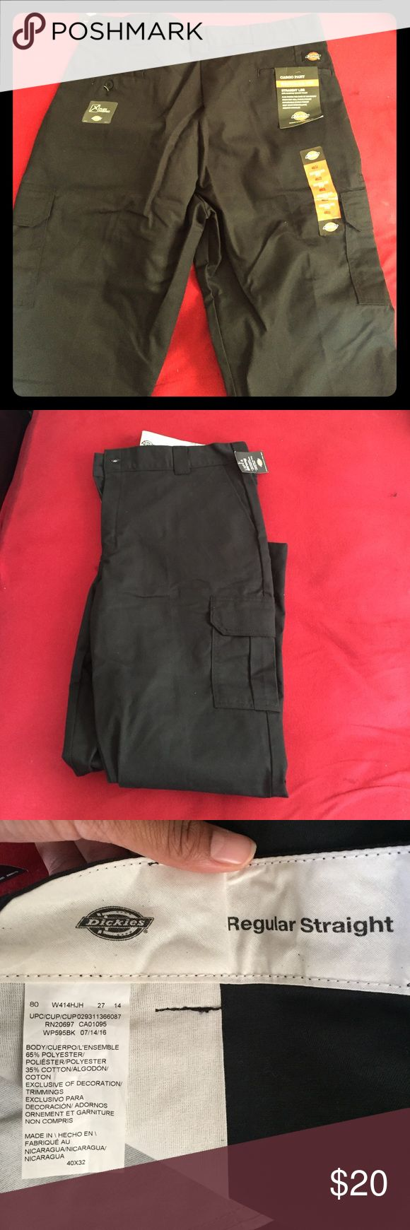 Dickies Men'sCargo Work Pants Brand New (only tried on) Men's Black Dickie Cargo Work Pants! They were the wrong size. No Rips, Stains , etc!! Just been stored in the closets for a couple of months. ▶️Size :: 40x32 Dickies Pants Chinos & Khakis