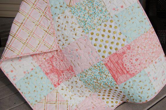 Baby girl quilt crib quilt brambleberry ridge by QuiltsbyJosephine