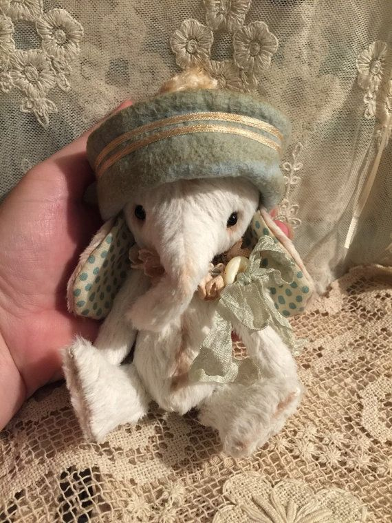 Vintage style whimsical Elephant artist by olivegroveprimitives