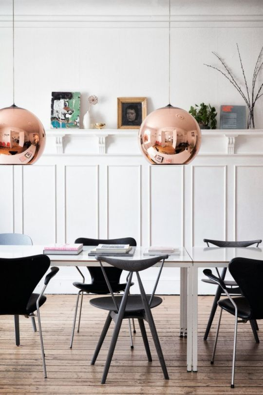 copper pendants, home of Tanja Vibe | Line Klein for Elle Dekoration DK, styled by Mille Collin Flaherty