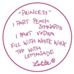 Princess cocktail; peach schnapps, vodka, white wine, lemonade