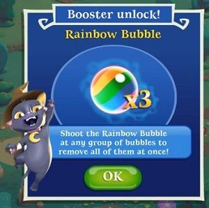 Bubble Witch 2 - Booster Bubbles: Shoot the Rainbow Bubble at any group of bubbles to remove all of them at once.