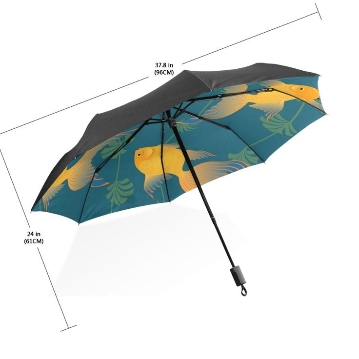 Cartoon Ocean Sea Yellow Fish Umbrella One-handed Manipulation Women Men Compact Fully Automatic Winfproof Strong Umbrella #Affiliate