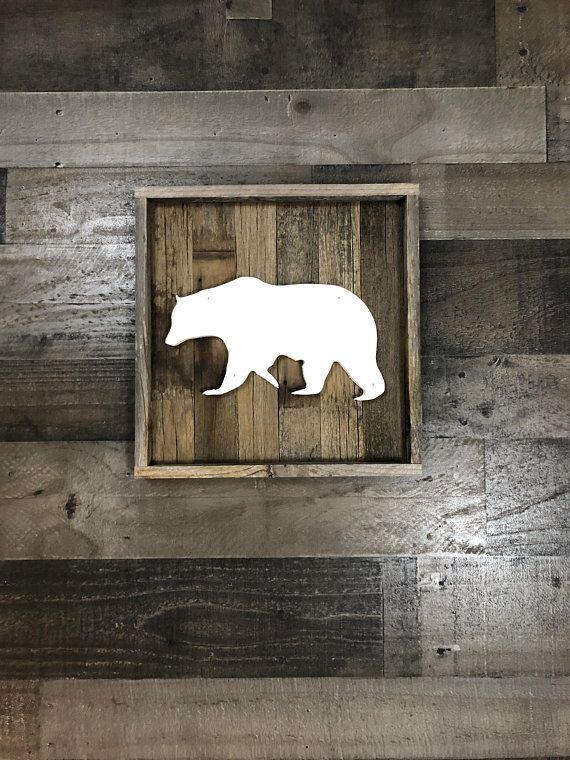 Rustic Bear Cutout Reclaimed Wood Wall Art Bear Wall Decor