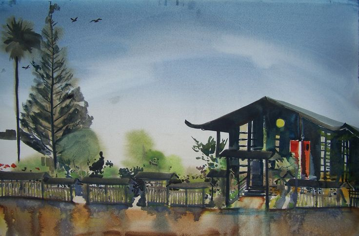 Buddhist Temple Berkeley California on Oregon Street. watercolor 32 x 22 d'Arches cold pressed 100 lb unmounted 100 US