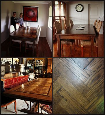 Charcoal Interiors - Style In The City. Examples of dining tables that we have made in a parquetry style.  We custom make furniture from our own workshop based in Brisbane.  Charcoal Interiors 59 Doggett St. Newstead. Ph. 07 38526002