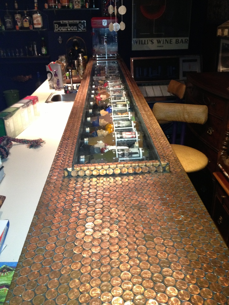 315 best images about penny for your project on pinterest for Copper penny bar top