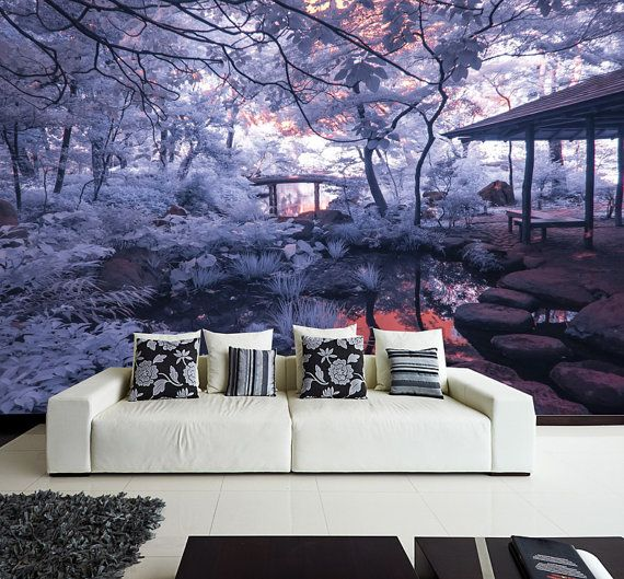 MURAL Purple Dream Wall Paper, Self-Adhesive Wall Covering, Peel And Stick Repositionable Wallpaper