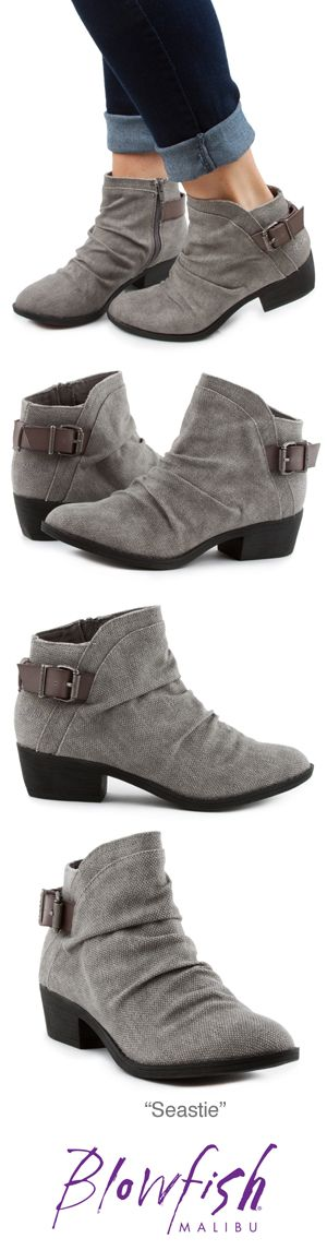 We all want a cute bootie this season! Seastie from Blowfish Shoes is exactly what you're looking for. This casual, low-heeled bootie features a canvas upper with a ruched vamp and a decorative buckle at the ankle. We've added in an inside zipper for easy off/on. Pair this with your favorite skinny jeans and a knit sweater for a great fall/winter look!
