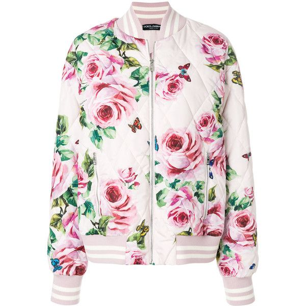 Dolce & Gabbana rose print bomber jacket (€2.015) ❤ liked on Polyvore featuring outerwear, jackets, quilted jackets, rose pink jacket, colorful bomber jacket, flight jackets and quilted flight jacket