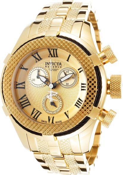 Invicta Women's Bolt Reserve Chronograph 18K Gold Plated Stainless Steel Gold-Tone Dial