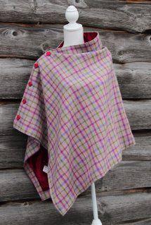 Harriet Hoot Harris Tweed Pink Check Poncho