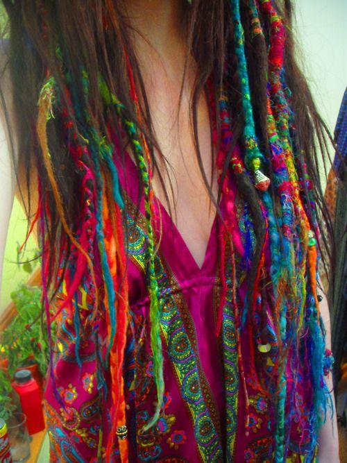 i wish!: Rainbows Hair, Boho Gypsy, Dreadlocks, Dreams Hair, Long Hair, Yarns Dreads, Funky Hair, Wraps, Colors Hair