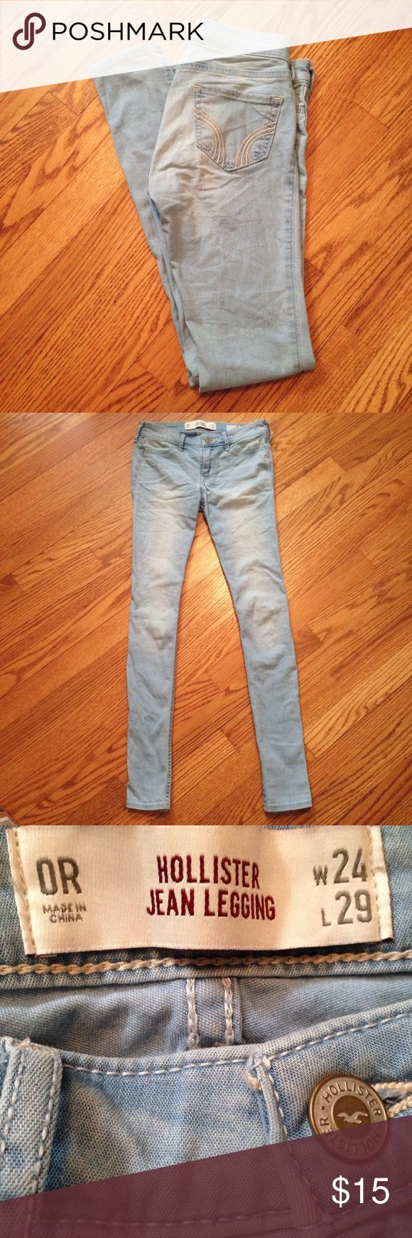 Hollister Light Blue Skinny Jeans Light wash Hollister soft jean leggings. Used but still in good condition. No rips, holes or stains. Fit true to size. Hollister Jeans Skinny