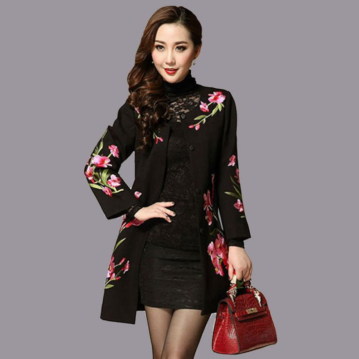 Middle Age Womens Long Coat For Autumn Spring Clothing Womens Chinese Embroidery Floral Coats Slim Style Ladies Beautiful Cloak