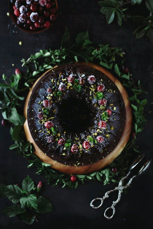 Surprise your family and friends with this beautiful chocolate holiday bundt cake.