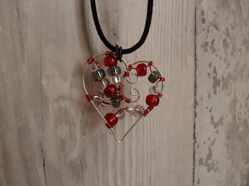 """Precious Beaded Heart Wire Pendant: Perfect for Valentine's Day this wire pendant is a lovely (and budget-friendly) way to say """"I love you""""."""