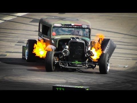 The FLAMETHROWER RAT ROD Epic Drift Show / Gymkhana - YouTube