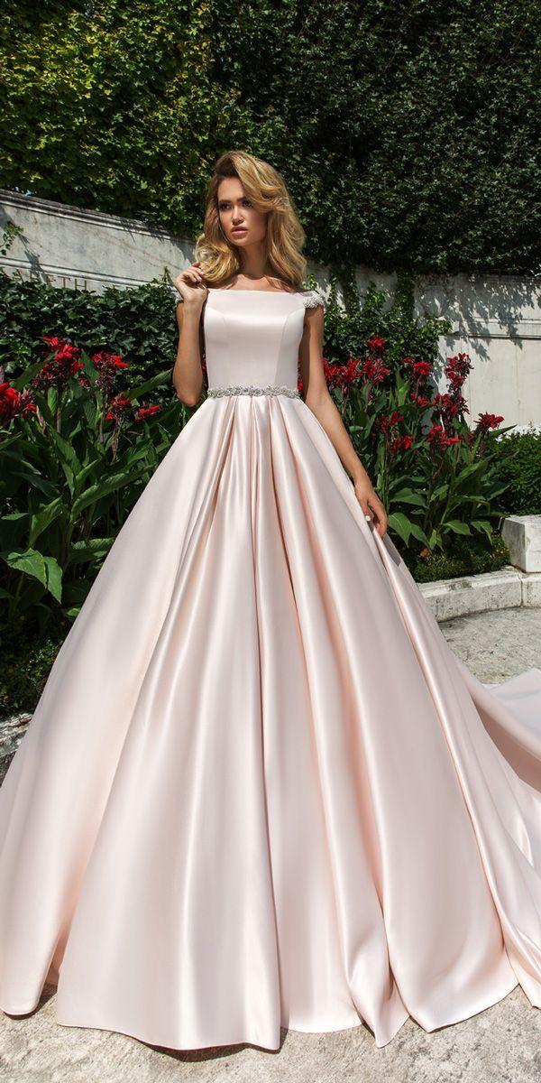 Crystal Design 2018 Wedding Dresses Simple Blush Ball Gown Caps